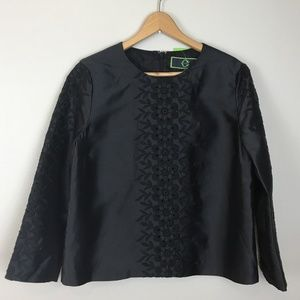 NWT C. Wonder Black Long Sleeve Embroidered Blouse